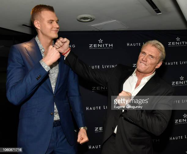 Kristaps Porzingis and Dolph Lundgren attend the Haute Living And Zenith Honor Dolph Lundgren at Mr Chow in Tribeca on November 12 2018 in New York...