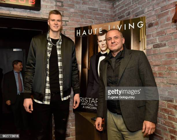 Kristaps Porzingis and Ronn Torossian attend the Haute Living Honoring of Kristaps Porzingis With Jaquet Droz at TAO Downtown on January 8 2018 in...