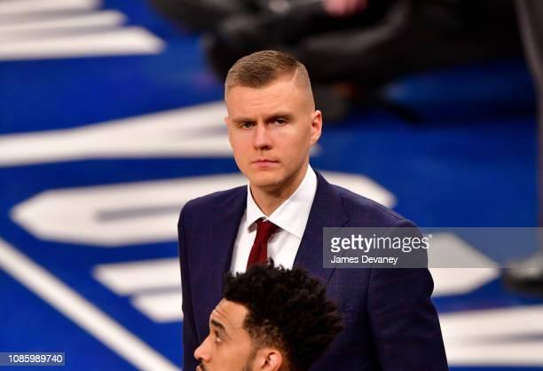Kristaps Porzingis attends Oklahoma City Thunder v New York Knicks game at Madison Square Garden on January 21 2019 in New York City