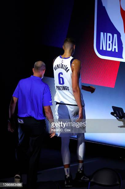 Kristaps Porzingis of the Dallas Mavericks leave the court after being ejected from the game against the LA Clippers during the third quarter in Game...