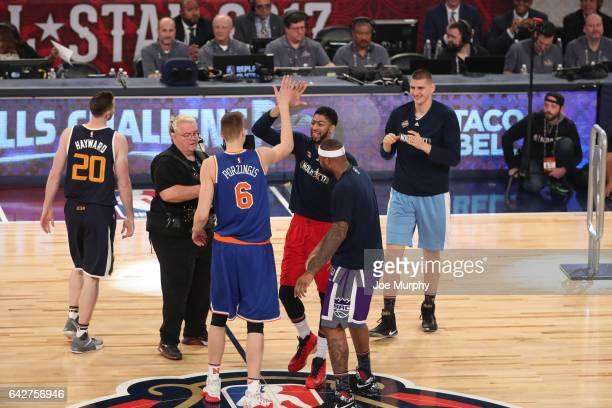 Kristaps Porzingis of the New York Knicks and Anthony Davis of the New  Orleans Pelicans celebrate 14e011339