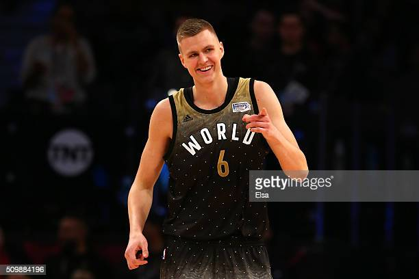 Kristaps Porzingis of the New York Knicks and World team reacts after a play in the first half against the United States team during the BBVA Compass...
