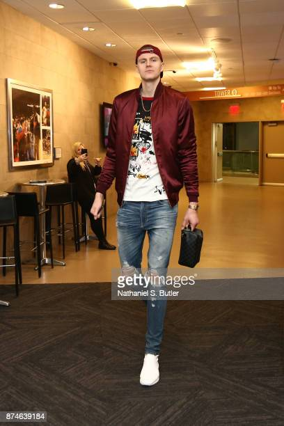 Kristaps Porzingis of the New York Knicks arrives at Madison Square Garden before the game against the Cleveland Cavaliers in New York City New York...