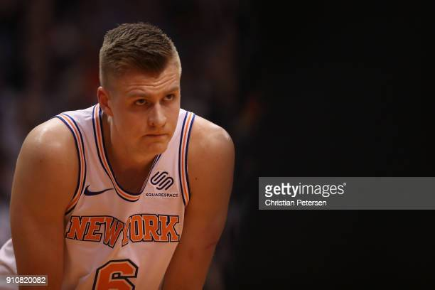 Kristaps Porzingis of the New York Knicks awaits a freethrow shot during the first half of the NBA game against the Phoenix Suns at Talking Stick...