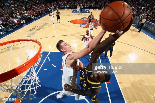 Kristaps Porzingis of the New York Knicks blocks against Lance Stephenson of the Indiana Pacers on November 5 2017 at Madison Square Garden in New...