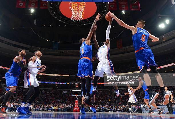 Kristaps Porzingis of the New York Knicks blocks the shot against the Philadelphia 76ers at Wells Fargo Center on December 18 2015 in Philadelphia...