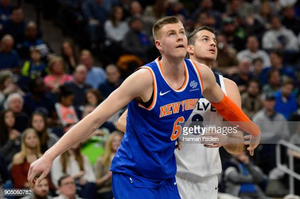 Kristaps Porzingis of the New York Knicks boxes out Nemanja Bjelica of the Minnesota Timberwolves for a free throw during the game on January 12 2018...