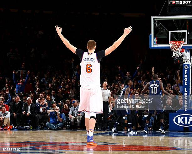 Kristaps Porzingis of the New York Knicks celebrates a win against the Dallas Mavericks on November 14 2016 at Madison Square Garden in New York City...