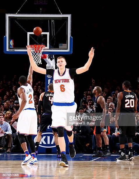 Kristaps Porzingis of the New York Knicks celebrates during the game against the Phoenix Suns on January 29 2016 at Madison Square Garden in New York...