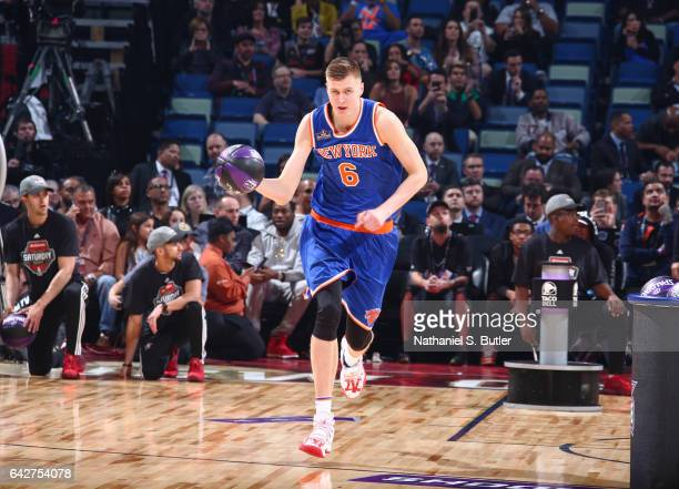 Kristaps Porzingis of the New York Knicks drives during the Taco Bell Skills Challenge during State Farm AllStar Saturday Night as part of the 2017...