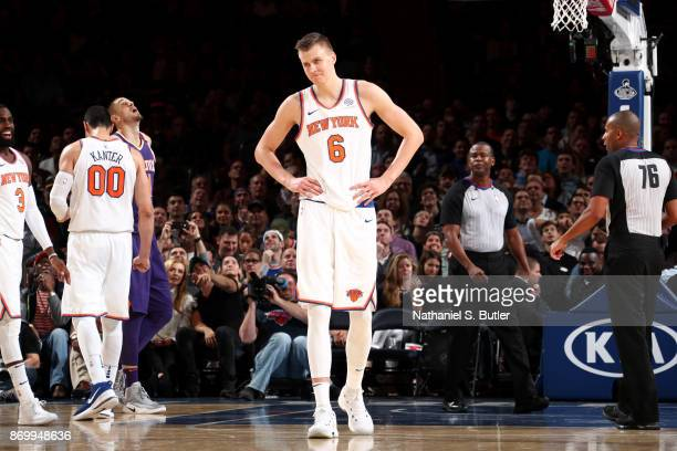 Kristaps Porzingis of the New York Knicks during the game against the Phoenix Suns on November 3 2017 at Madison Square Garden in New York City New...