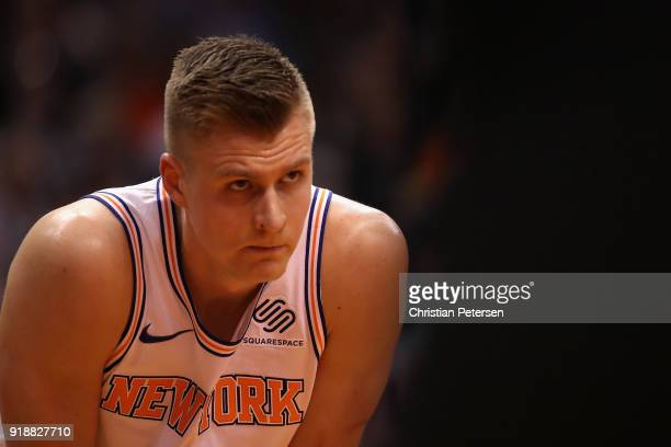Kristaps Porzingis of the New York Knicks during the NBA game against the Phoenix Suns at Talking Stick Resort Arena on January 26 2018 in Phoenix...