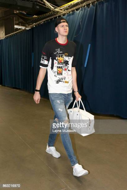 Kristaps Porzingis of the New York Knicks enters the arena before the game against the Oklahoma City Thunder on October 19 2017 at Chesapeake Energy...