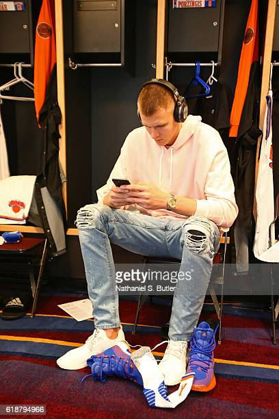 Kristaps Porzingis of the New York Knicks gets ready before the game against the Cleveland Cavaliers on October 25 2016 at Quicken Loans Arena in...