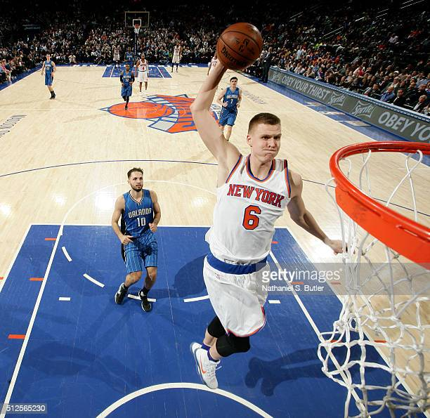 Kristaps Porzingis of the New York Knicks goes for the dunk during the game a on February 26 2016 at Madison Square Garden in New York City New York...