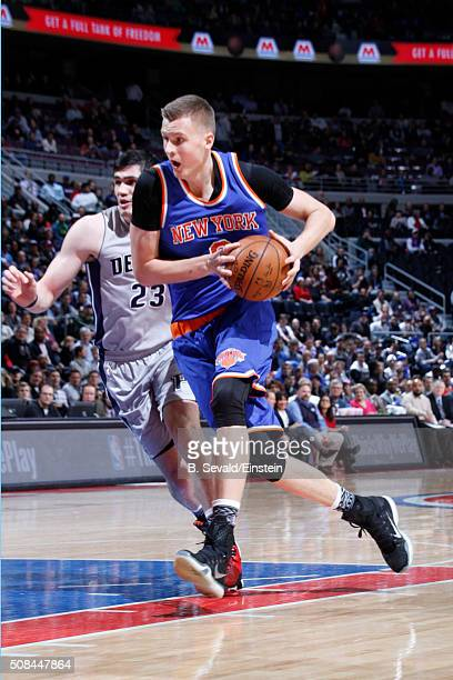 Kristaps Porzingis of the New York Knicks handles the ball against the Detroit Pistons on February 4 2016 at The Palace of Auburn Hills in Auburn...