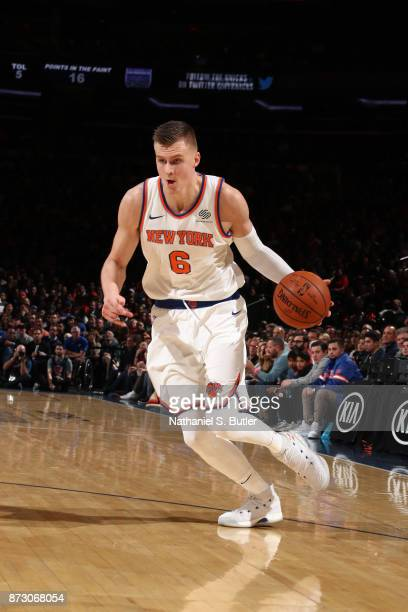 Kristaps Porzingis of the New York Knicks handles the ball against the Sacramento Kings on November 11 2017 at Madison Square Garden in New York City...