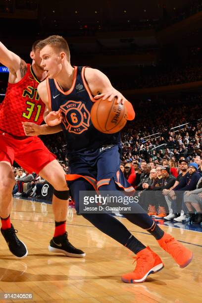 Kristaps Porzingis of the New York Knicks handles the ball during the game against the Atlanta Hawks on February 4 2018 in New York City New York at...