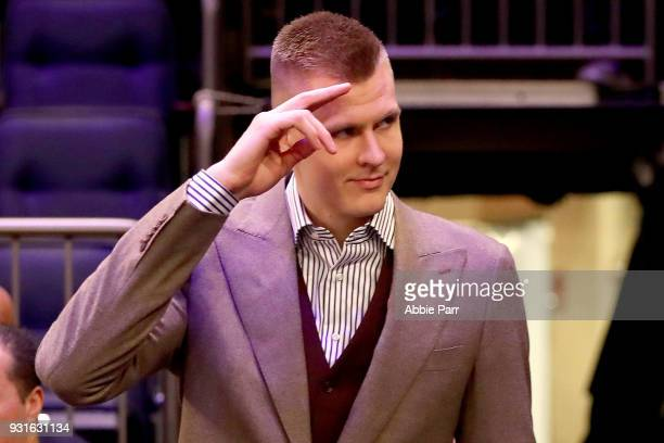 Kristaps Porzingis of the New York Knicks is welcomed back after tearing his ACL previously in the season prior to taking on the Dallas Mavericks...