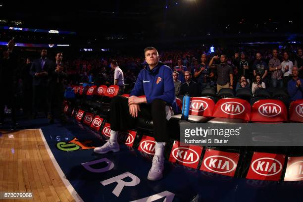 Kristaps Porzingis of the New York Knicks looks on before the game against the Phoenix Suns on November 3 2017 at Madison Square Garden in New York...