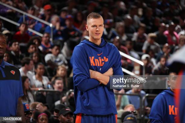 Kristaps Porzingis of the New York Knicks looks on during their Open Practice on September 29 2018 at Madison Square Garden in New York City New York...