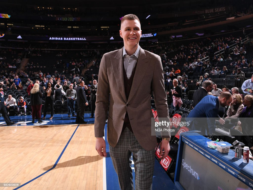 Kristaps Porzingis #6 of the New York Knicks looks on prior to the game against the Dallas Mavericks on March 13, 2018 at Madison Square Garden in New York City, New York.