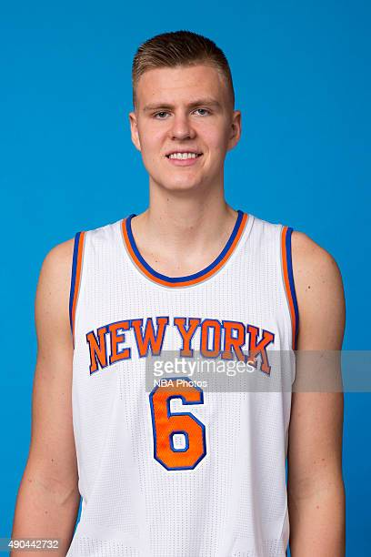 Kristaps Porzingis of the New York Knicks poses for a head shot at media day at the MSG Training Facility in Greenburgh New York on September 28 2015...
