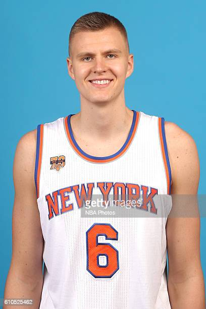 Kristaps Porzingis of the New York Knicks poses for a head shot during media day at the Ritz Carlton in White Plains New York on September 26 2016...