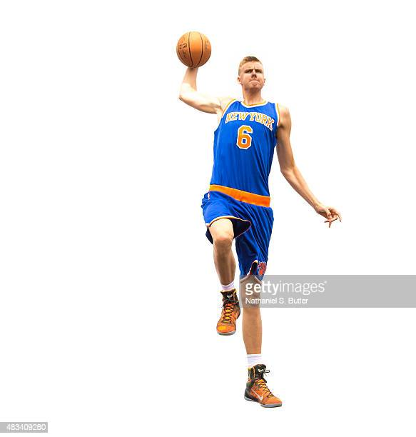 Kristaps Porzingis of the New York Knicks poses for a photo during the 2015 NBA Rookie Shoot on August 8 2015 at the Madison Square Garden Training...