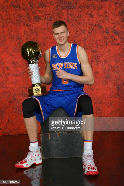 Kristaps Porzingis of the New York Knicks poses for a portrait after winning the Taco Bell Skills Challenge as part of 2017 AllStar Weekend at the...