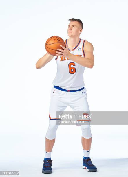 Kristaps Porzingis of the New York Knicks poses for a portrait at the Knicks Practice Center on October 11 2017 in Tarrytown New York NOTE TO USER...
