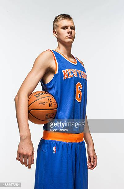 Kristaps Porzingis of the New York Knicks poses for a portrait during the 2015 NBA rookie photo shoot on August 8 2015 at the Madison Square Garden...