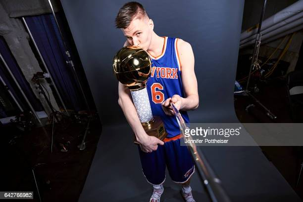 Kristaps Porzingis of the New York Knicks poses for a portrait during State Farm AllStar Saturday Night as part of 2017 AllStar Weekend at the...