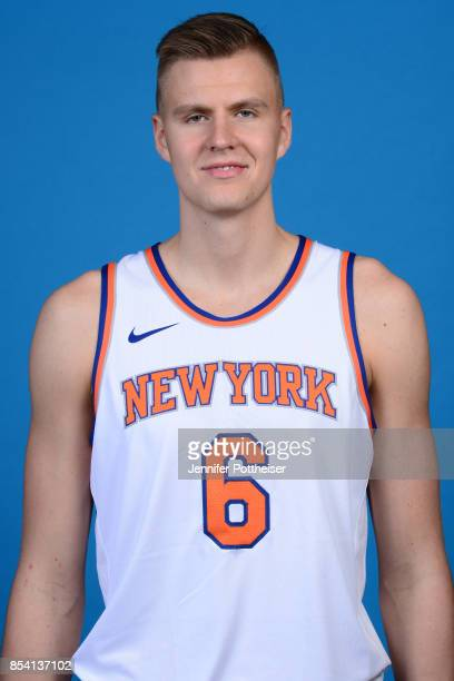 Kristaps Porzingis of the New York Knicks poses for a portrait during 2017 Media Day on September 25 2017 at the New York Knicks Practice Facility in...