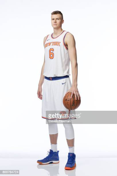 Kristaps Porzingis of the New York Knicks poses for a portrait during Media Day on September 25 2017 at the Knicks Practice Center in Tarrytown New...