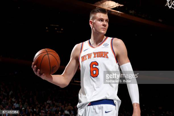 Kristaps Porzingis of the New York Knicks reacts during the game against the Charlotte Hornets on November 7 2017 at Madison Square Garden in New...