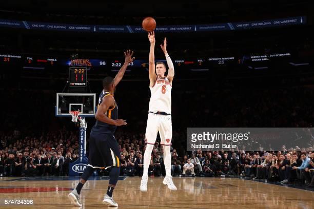 Kristaps Porzingis of the New York Knicks shoots the ball against the Utah Jazz on November 15 2017 at Madison Square Garden in New York City New...