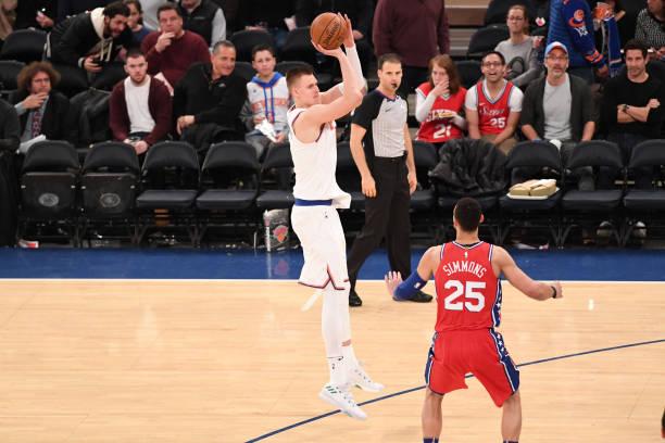 Kristaps Porzingis of the New York Knicks shoots the ball against the Philadelphia 76ers on December 25, 2017 at Madison Square Garden in New York...
