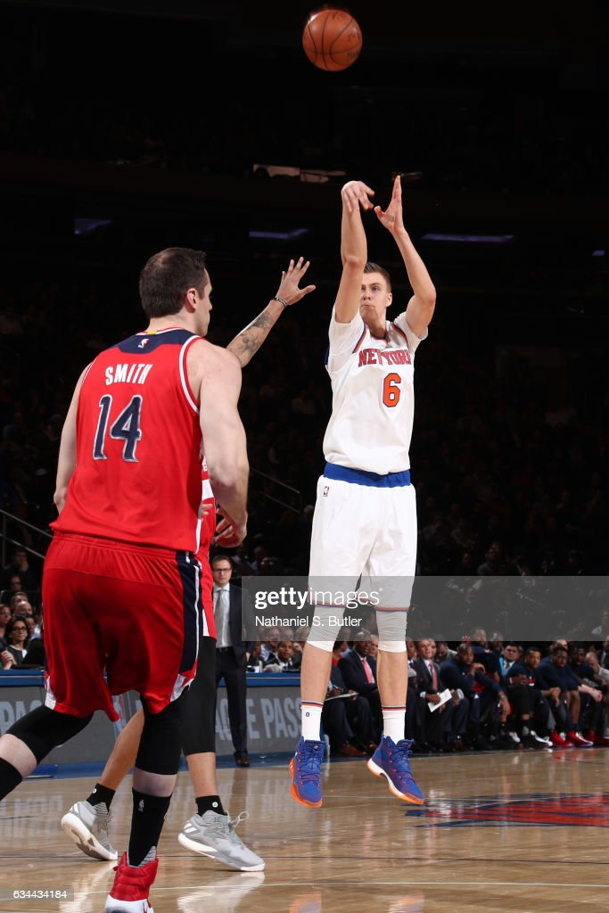 Kristaps Porzingis #6 of the New York Knicks shoots the ball during a game against the Washington Wizards on January 19, 2017 at Madison Square Garden in New York City, New York.