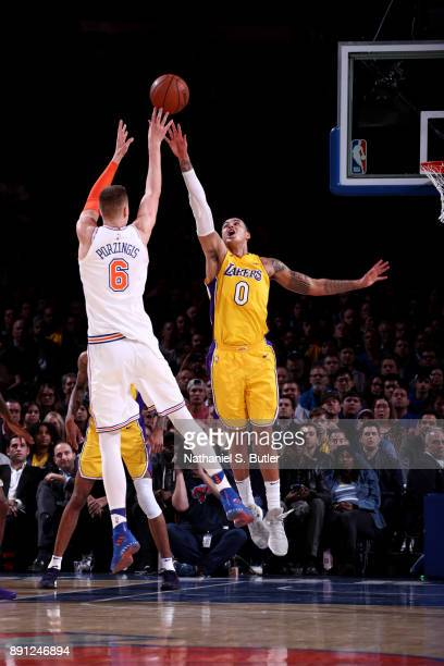 Kristaps Porzingis of the New York Knicks shoots the ball during the game against the Los Angeles Lakers on December 12 2017 at Madison Square Garden...