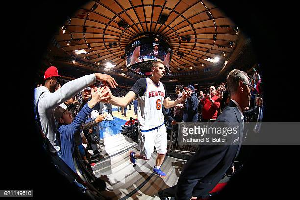 Kristaps Porzingis of the New York Knicks walks off the court after the game against the Memphis Grizzlies on October 29 2016 at Madison Square...