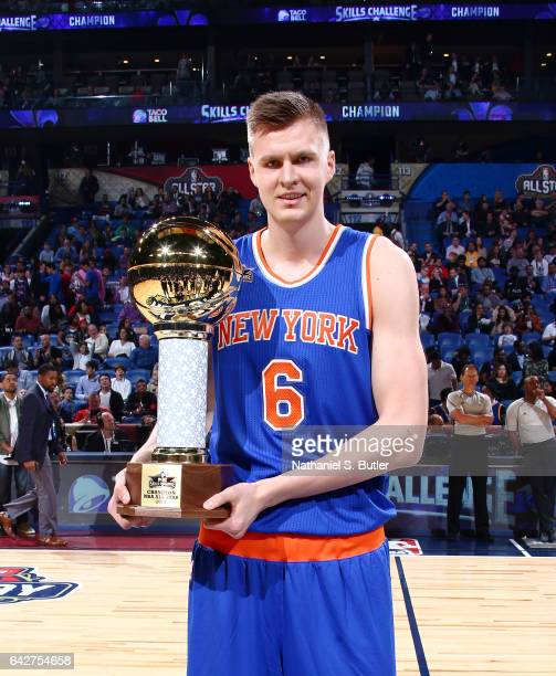 Kristaps Porzingis of the New York Knicks wins during the Taco Bell Skills  Challenge during State b3d3ef27f