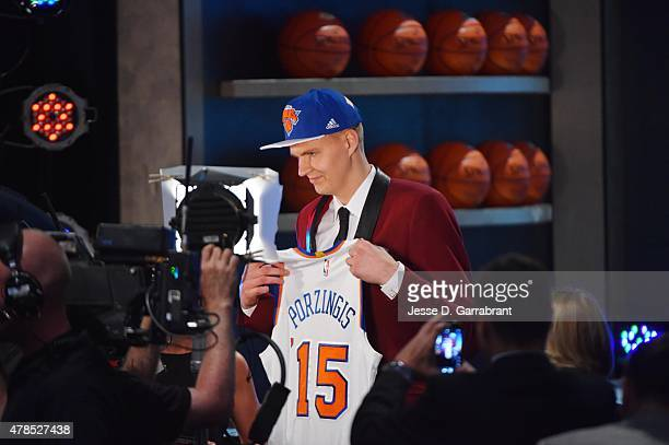 Kristaps Porzingis the 4th pick overall in the 2015 NBA Draft by the New York Knicks during the 2015 NBA Draft at the Barclays Center on June 25,...
