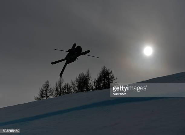 Kristaps Thompson from Canada during Men's Ski Slopestyle Heat 1 qualification round at FIS Freestyle World SKI CHampionships 2015 in Kreischberg...