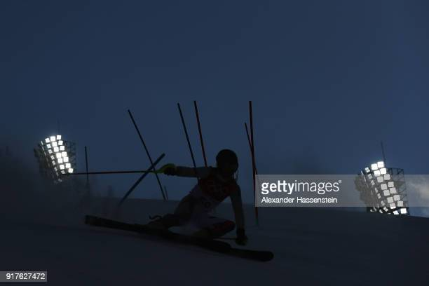 Kristaps Zvejnieks of Latvia makes a run during the Men's Alpine Combined Slalom on day four of the PyeongChang 2018 Winter Olympic Games at...