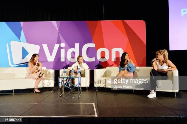 Kristen Acevedo Emma Chamberlain Remi Cruz and Alisha Marie attend VidCon 2019 at Anaheim Convention Center on July 13 2019 in Anaheim California