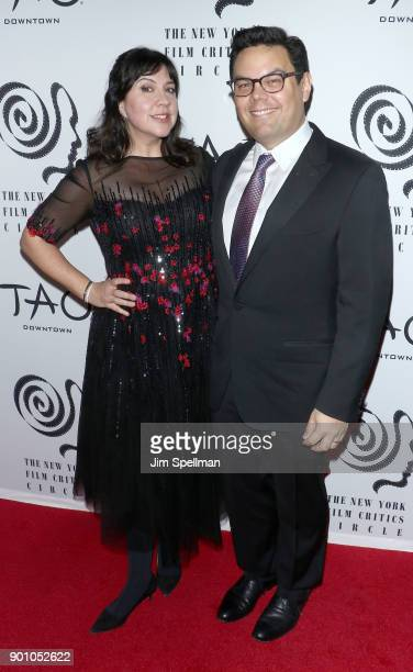 Kristen Anderson Lopez and Robert Lopez attend the 2017 New York Film Critics Awards at TAO Downtown on January 3 2018 in New York City