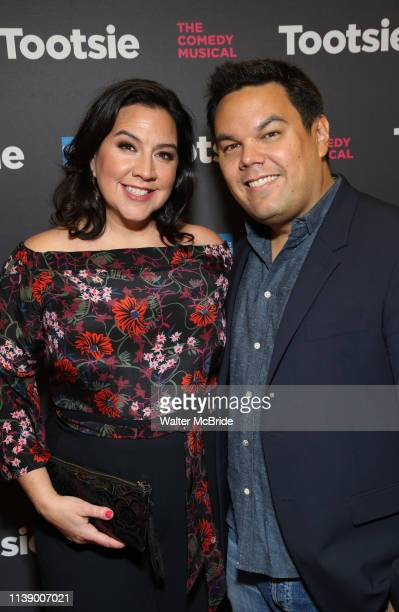 Kristen Anderson Lopez and Robert Lopez attend the Broadway Opening Night of 'Tootsie' at The Marquis Theatre on April 22 2019 in New York City