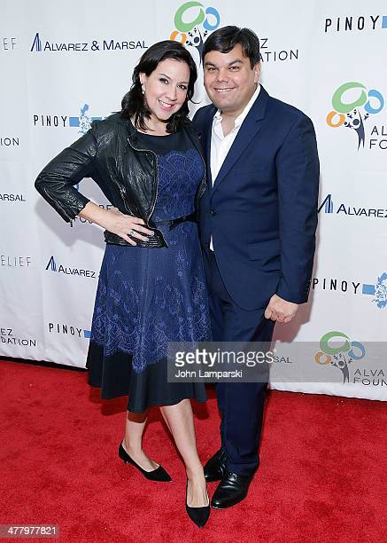 Kristen Anderson Lopez and Robert Lopez attend the Pinoy Relief Benefit concert at Madison Square Garden on March 11, 2014 in New York City.
