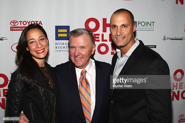 Kristen Barker David Mixner and Pahotographer Nigel Barker Attends the 'Oh Hell No' Opening Night Arrivals And Curtain Cal at New World Stages on...